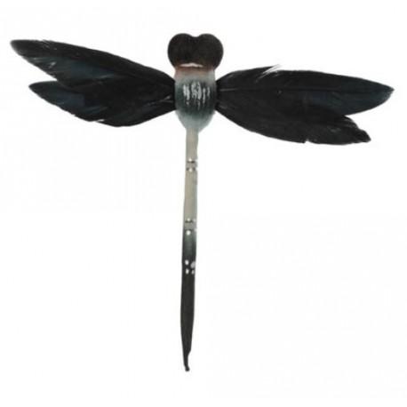 Libellules Noires en plumes sur tige les 6