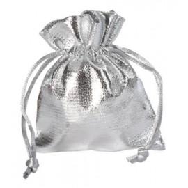 Sachet à dragées argent brillant en tissu 10 cm les 6