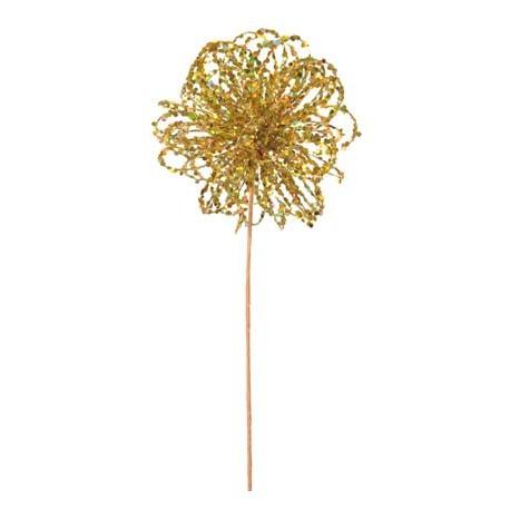 Boule Festive Or Scintillante 28 cm Sur Tige