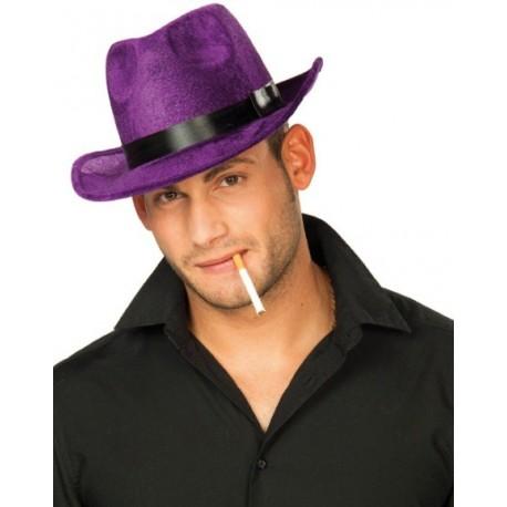 Chapeau Borsalino Violet en Velours Homme