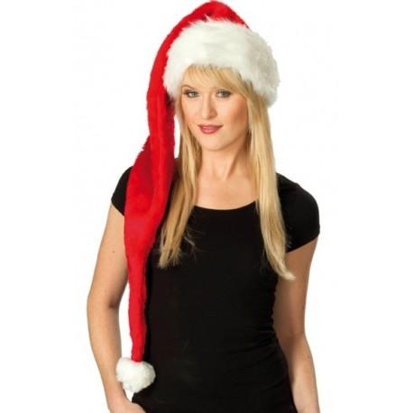Bonnet de Noël Long Rouge Deluxe en Peluche