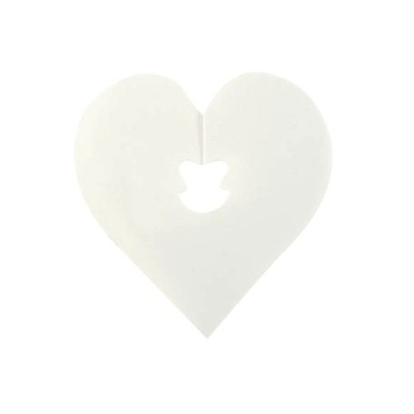 Clips Deco Coeur Blanc les 24 Attaches 5 cm