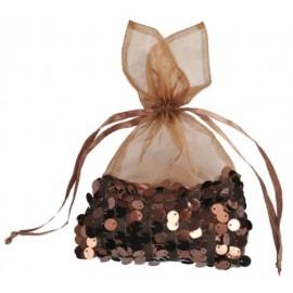 Sachets Sequin Chocolat en Organdi 22 cm les 4