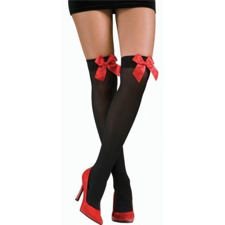 Bas Noir Opaque Avec Noeud Rouge