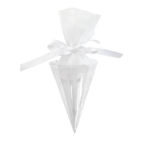Cornet A Dragees Transparent 20 cm Les 6