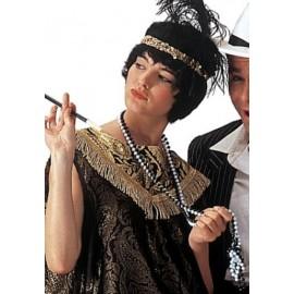 Collier Sautoir Perles Noires Femme