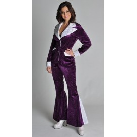 Costume Disco Violet Argent Glitter Chic Deluxe Femme