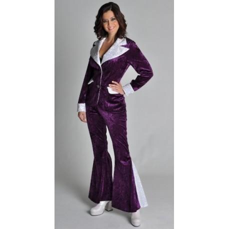 Costume Disco Violet Argent Glitter Chic Deluxe Femme
