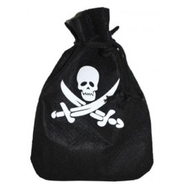 Sac Bourse Pirate Noir 25cm x 20 cm