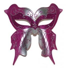 Loup de Venise Fuschia Argent Papillon Adulte