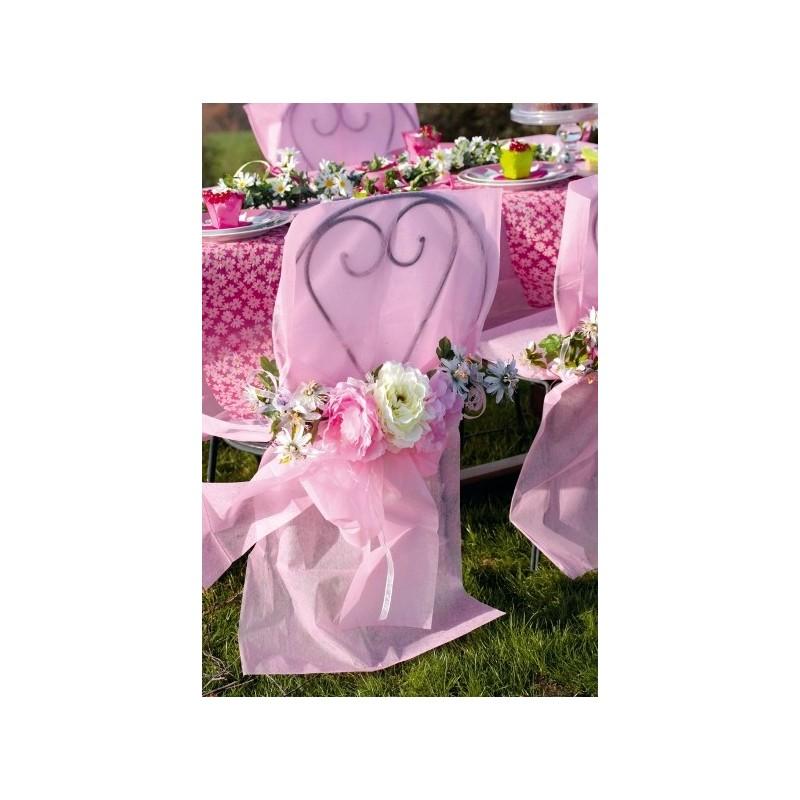 Housses de chaise intiss rose avec noeuds les 10 for Housse de chaise rose