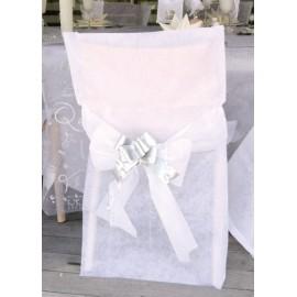housse de chaise blanc intisse avec noeud