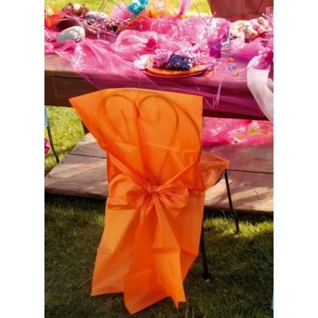 housse de chaise intisse orange et noeud