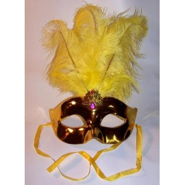 Masque Vénitien Or Avec Plumes Adulte