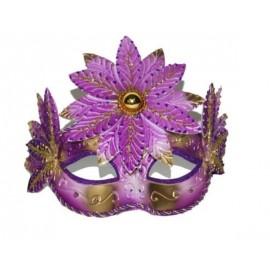 Loup de Venise Violet Or Avec Fleur Adulte