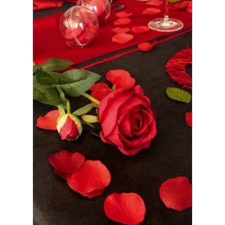 Pétale rouge en tissu Pétale de rose avec feuille