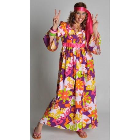 Deguisement Hippie Robe Flower Of Love Femme