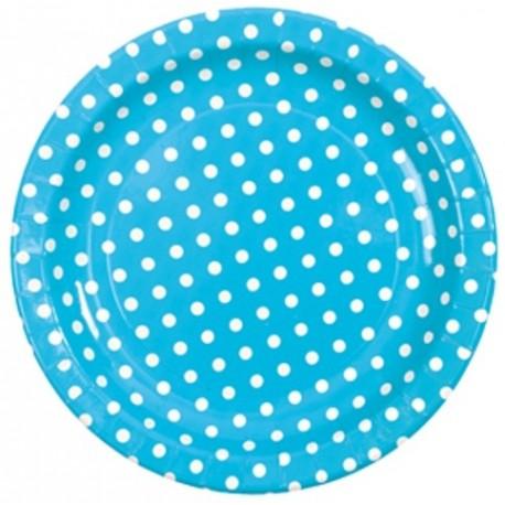 Assiette carton turquoise a pois assiette ronde jetable