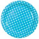 Assiettes Turquoise Rondes A Pois en Carton 23 cm les 10