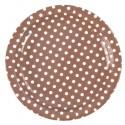 Assiettes Chocolat Rondes A Pois Carton 23 cm les 10