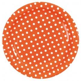 Assiette carton orange a pois assiette ronde jetable