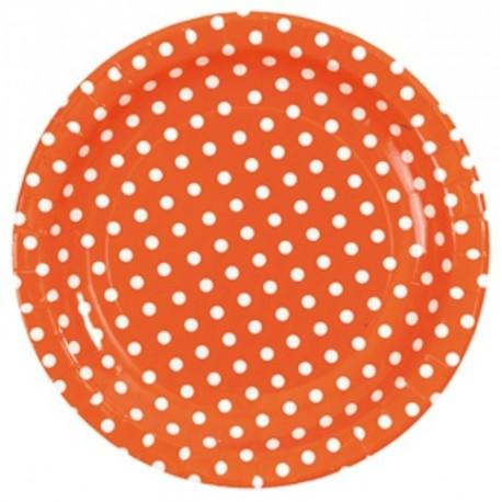 assiettes orange rondes a pois carton 23 cm les 10. Black Bedroom Furniture Sets. Home Design Ideas