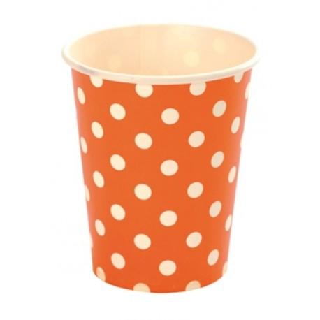 Gobelet carton orange pois blanc gobelet jetable