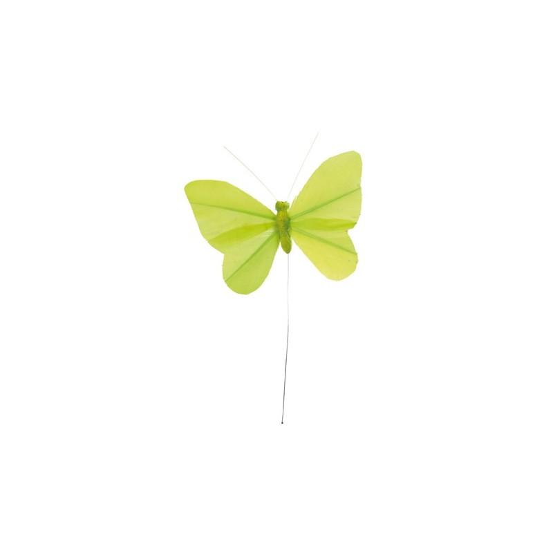 papillon plume sur tige couleur unie les 6. Black Bedroom Furniture Sets. Home Design Ideas