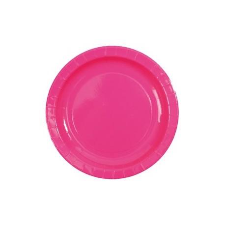 Assiette carton laque fuschia vaisselle jetable de fete