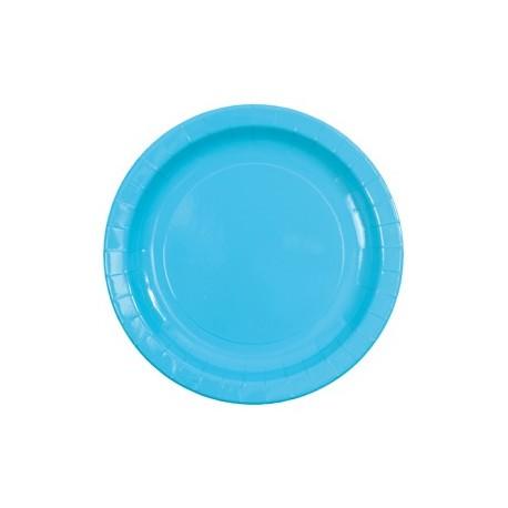 Assiette carton laque turquoise vaisselle jetable de fete