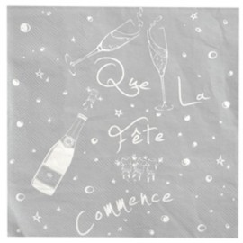 Serviette de table argent motif fete en papier