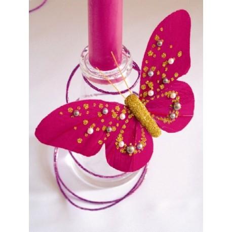 Papillon Perle Fuschia Or