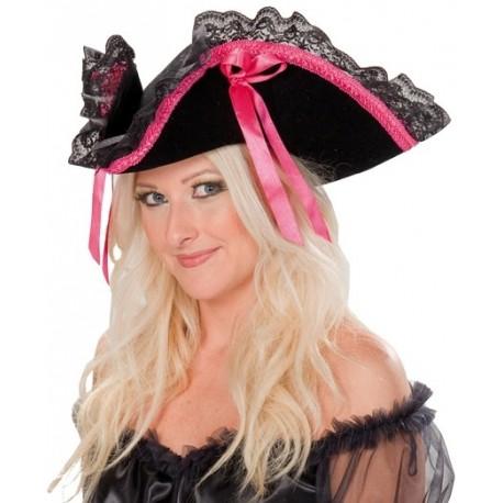 Chapeau pirate baroque noir ruban fuchsia femme