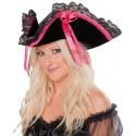 Chapeau Pirate Velours Noir et Ruban Fuschia Femme