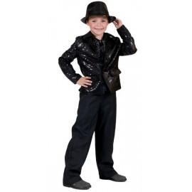 Déguisement veste disco noire à paillettes enfant
