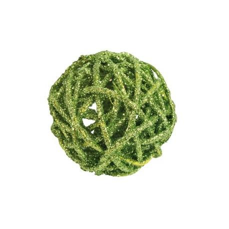 Boule rotin paillettes vert diametres assortis les 10