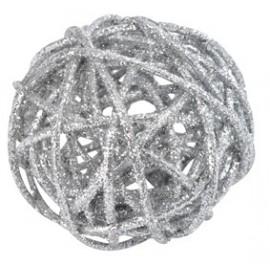 Boule rotin paillettes argent diamètres assortis les 10