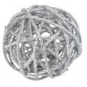 Boules rotin paillettes argent diamètres assortis les 10