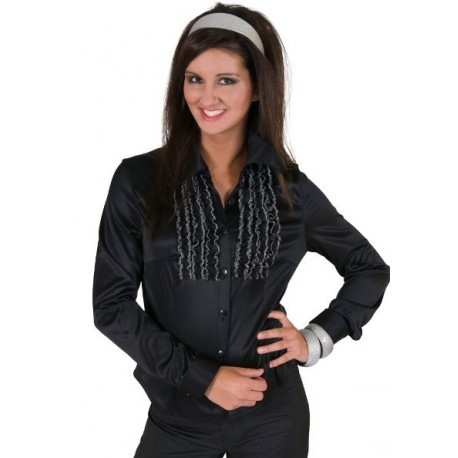 Deguisement Chemise Disco Noire a Ruches Femme