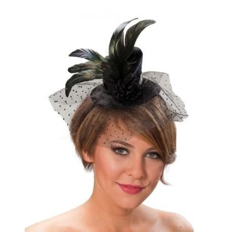 Mini chapeau haut de forme noir avec voile a pois deguisement