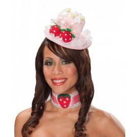 Mini Chapeau Haut de Forme Rose Avec Fraises