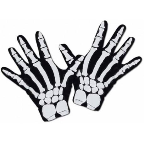 Gants de squelette noir adulte homme accessoire deguisement