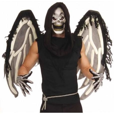 Ailes squelette angel of death masque tete de mort gants Adulte