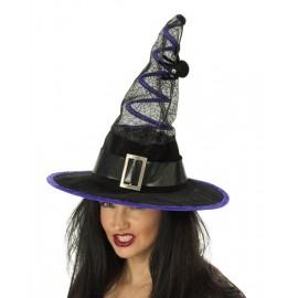 Chapeau Sorcière Noir Violet Avec Araignée Femme