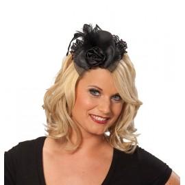 Mini Chapeau de Soirée Noir Avec Dentelle Femme
