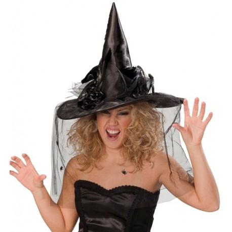 Chapeau Sorcière Noir Deluxe Avec Voilette Femme