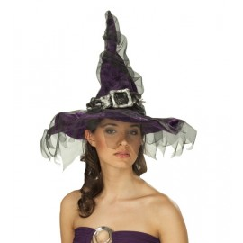 Chapeau Sorcière Velours Violet avec Tulle Noir Femme