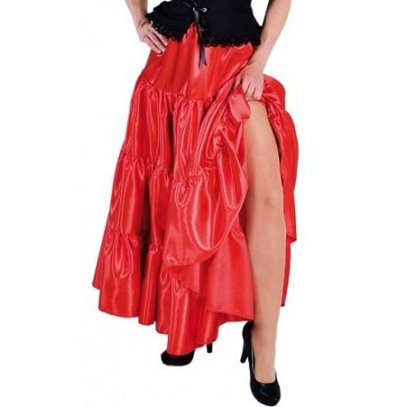 Deguisement jupe flamenco longue rouge a volants Adulte femme