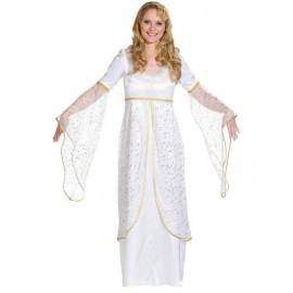 Déguisement ange blanc avec étoiles or femme