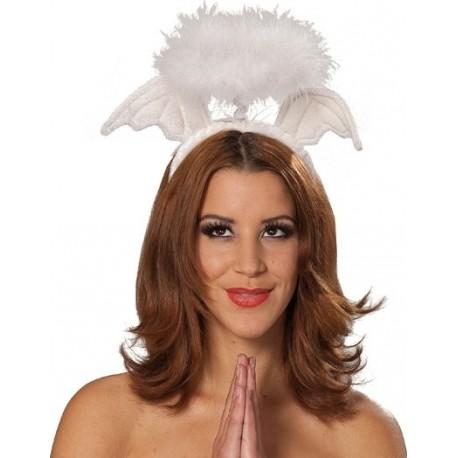 Serre tête ailes d'ange et auréole blanche